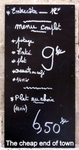 Typical menu outside French restaurant
