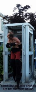 Devil leaving a phone box